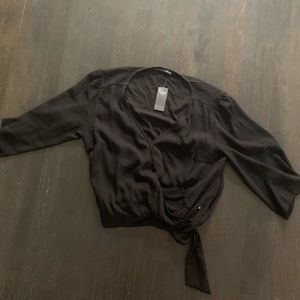 Abercrombie Black Flutter Sleeve Crop Top NWT